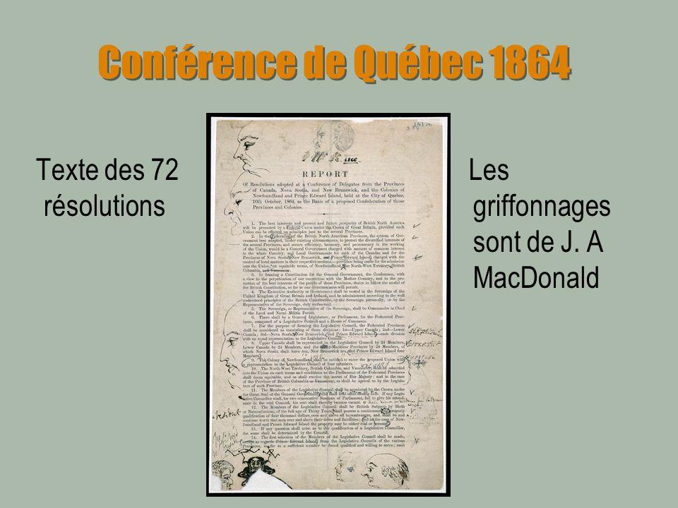 Conférence de Québec 1864 Texte des 72 résolutions