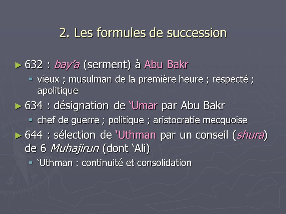 2. Les formules de succession