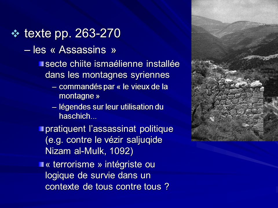 texte pp. 263-270 les « Assassins »