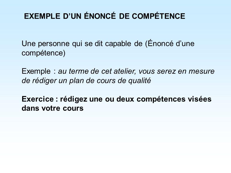 EXEMPLE D'UN ÉNONCÉ DE COMPÉTENCE