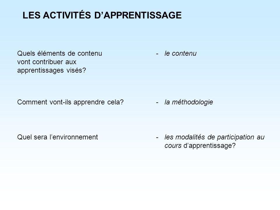 LES ACTIVITÉS D'APPRENTISSAGE