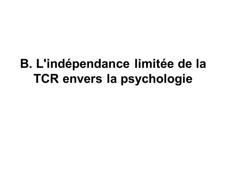 B. L indépendance limitée de la TCR envers la psychologie