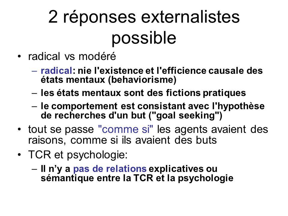 2 réponses externalistes possible