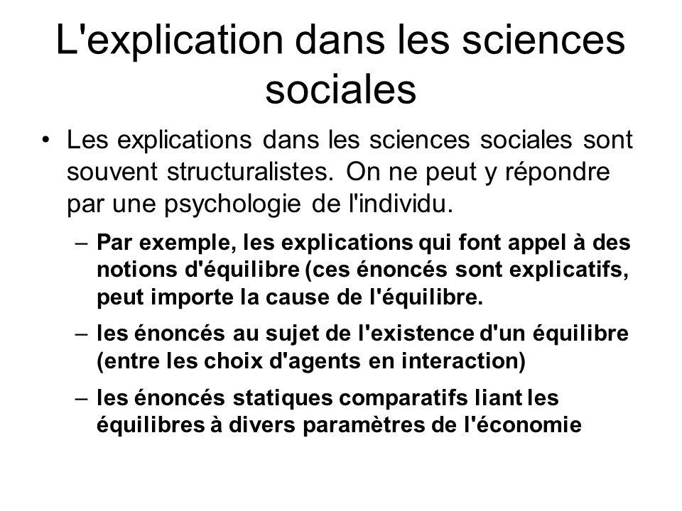 L explication dans les sciences sociales