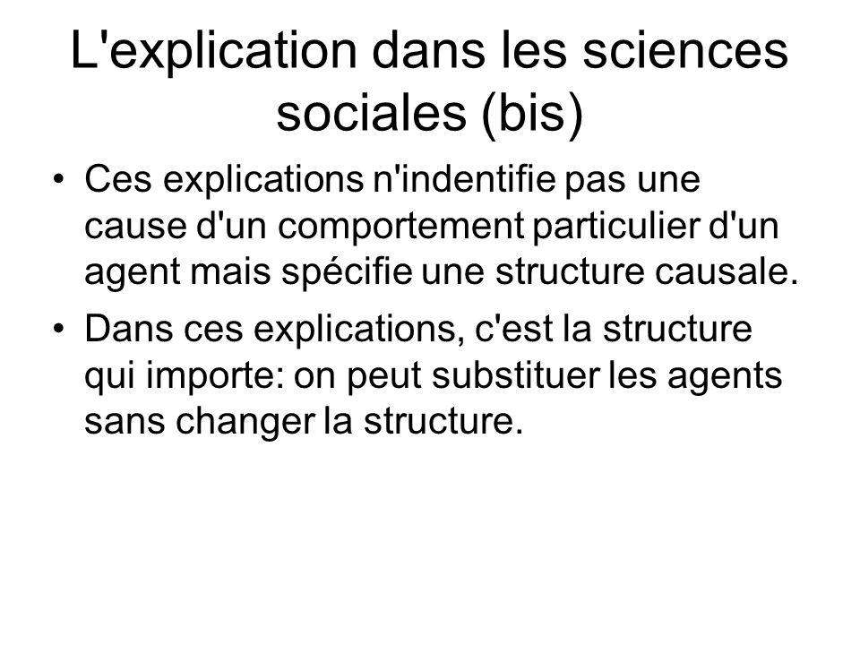 L explication dans les sciences sociales (bis)