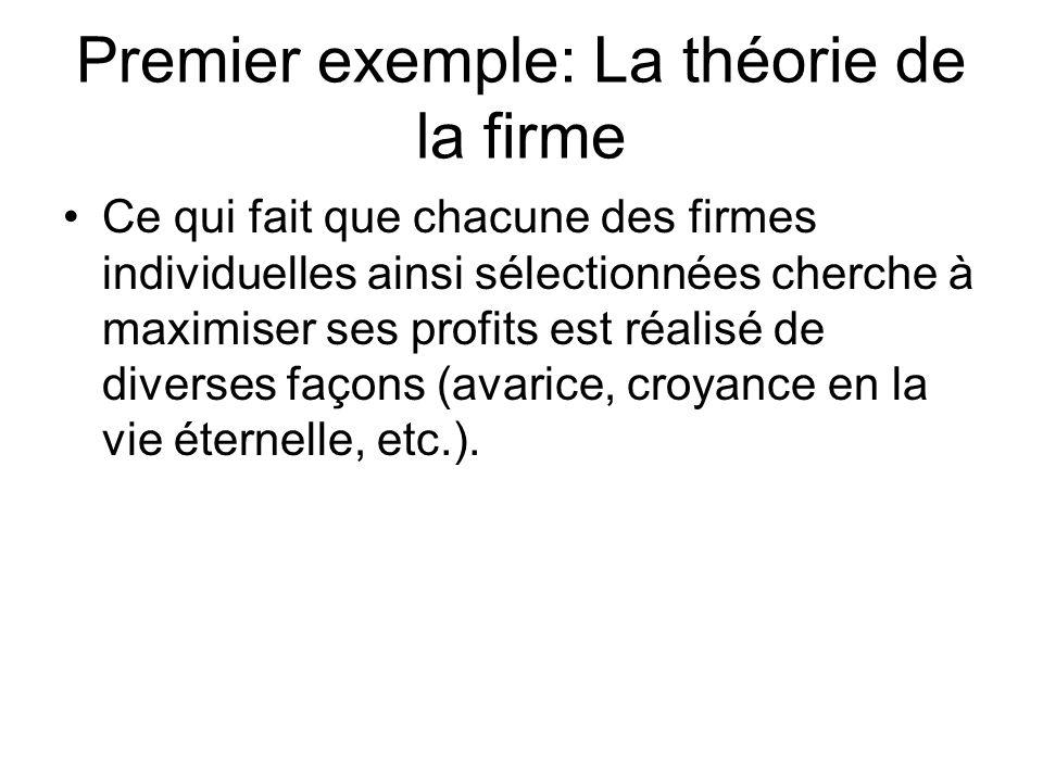 Premier exemple: La théorie de la firme