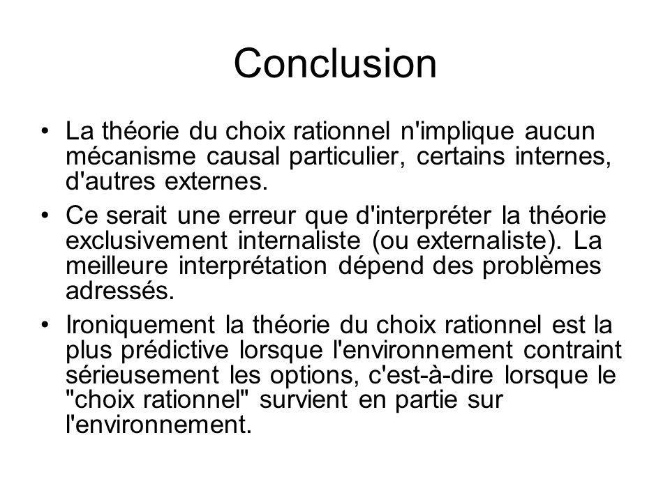 Conclusion La théorie du choix rationnel n implique aucun mécanisme causal particulier, certains internes, d autres externes.