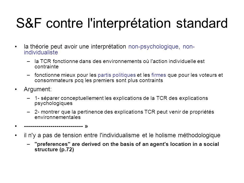 S&F contre l interprétation standard