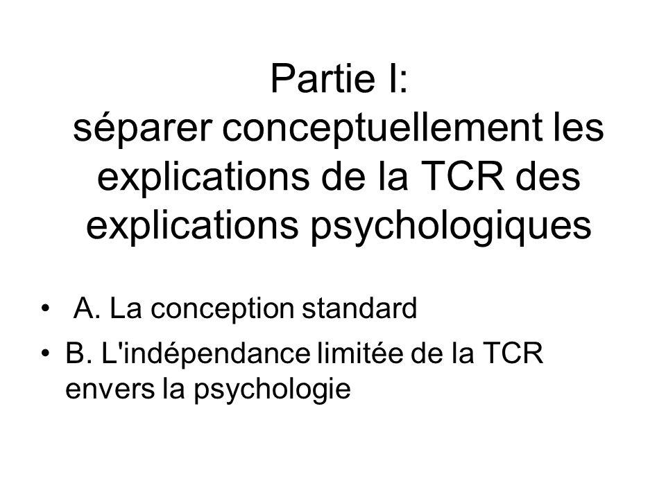Partie I: séparer conceptuellement les explications de la TCR des explications psychologiques