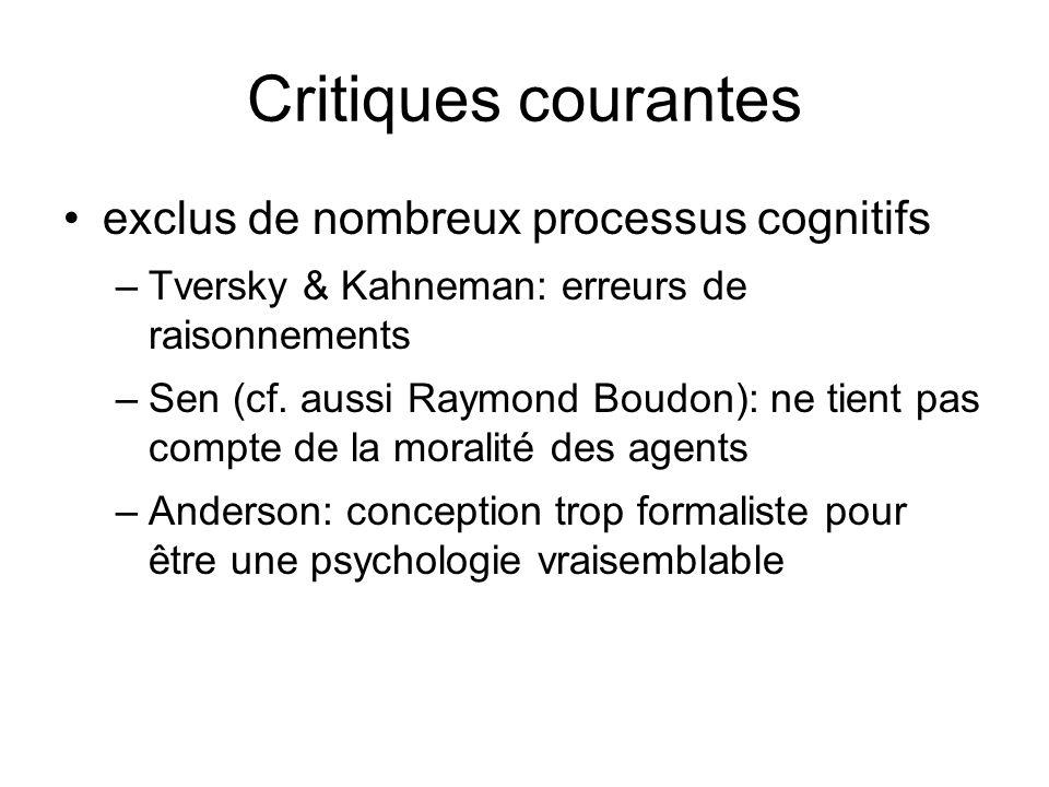 Critiques courantes exclus de nombreux processus cognitifs