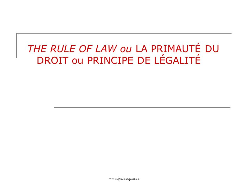 THE RULE OF LAW ou LA PRIMAUTÉ DU DROIT ou PRINCIPE DE LÉGALITÉ
