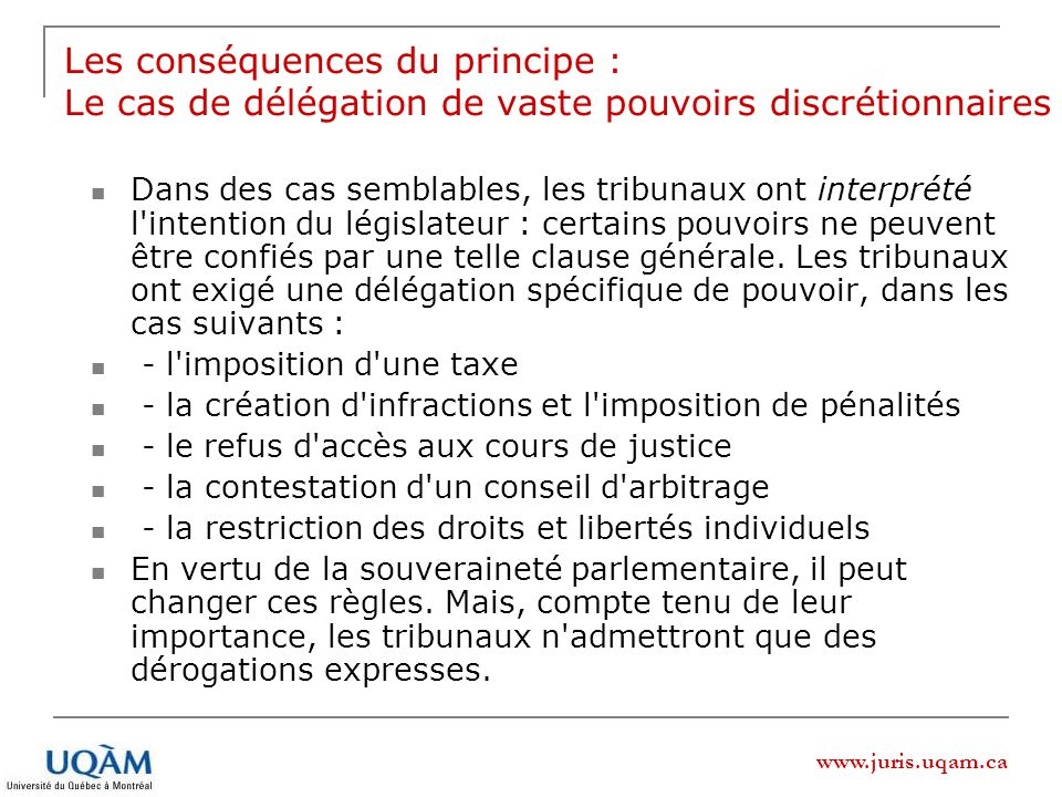 Les conséquences du principe : Le cas de délégation de vaste pouvoirs discrétionnaires