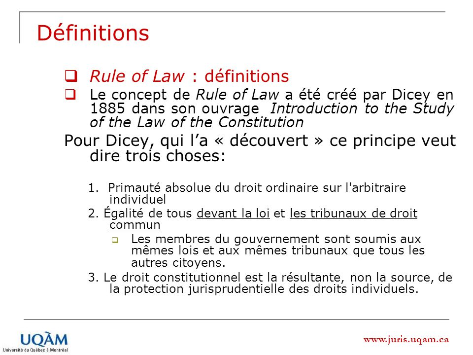 Définitions Rule of Law : définitions