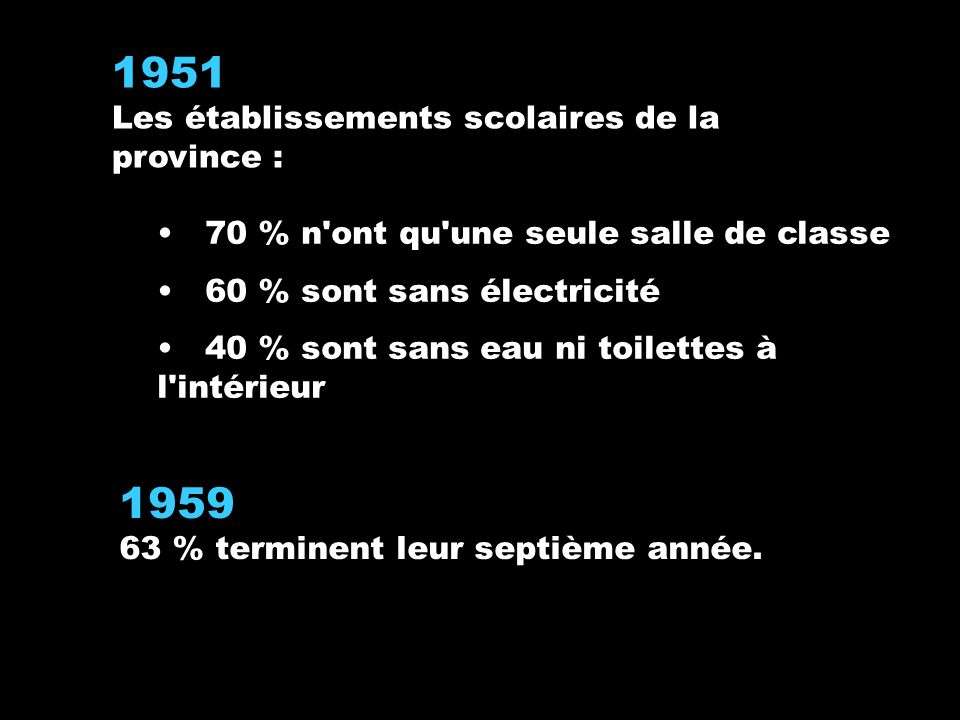 1959 63 % terminent leur septième année.