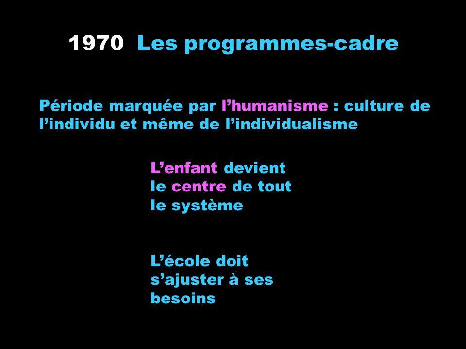 1970 Les programmes-cadre Période marquée par l'humanisme : culture de l'individu et même de l'individualisme.