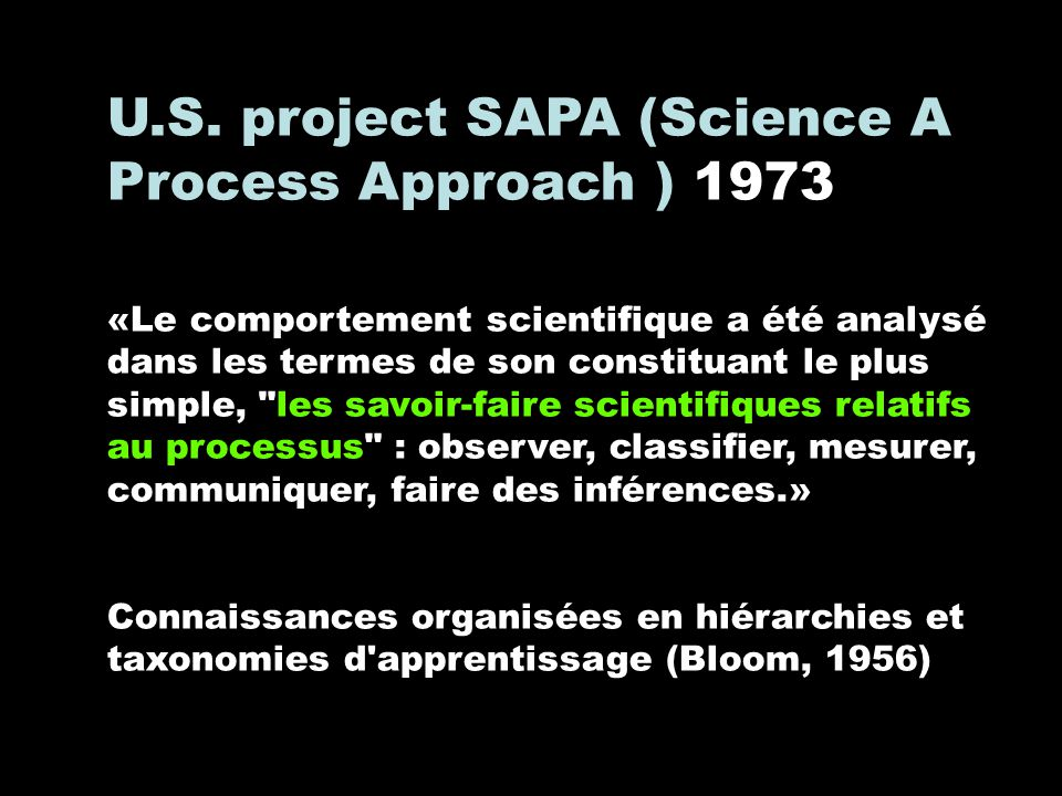 U.S. project SAPA (Science A Process Approach ) 1973