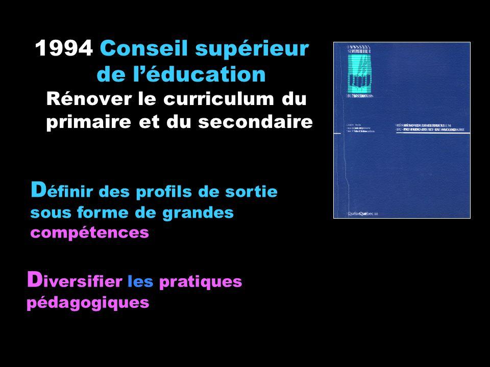 1994 Conseil supérieur de l'éducation Rénover le curriculum du primaire et du secondaire