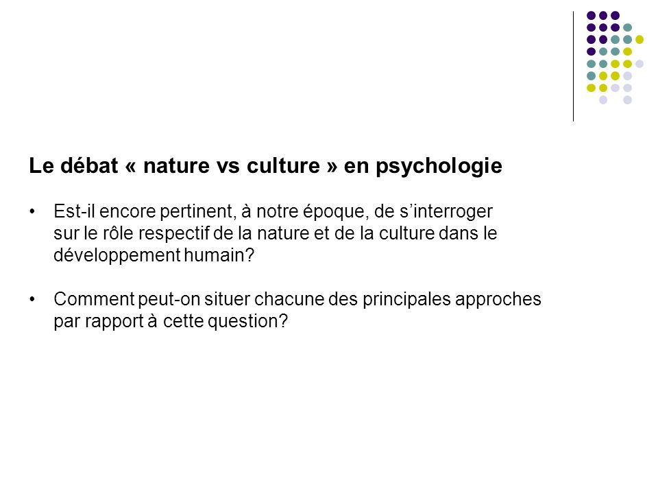 nature vs culture The nature vs nurture debate is the scientific, cultural, and philosophical debate about whether human culture, behavior, and personality are caused primarily by nature or nurture nature is .