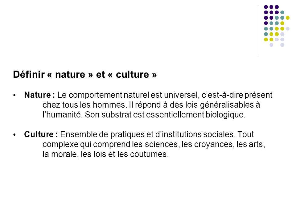 Définir « nature » et « culture »