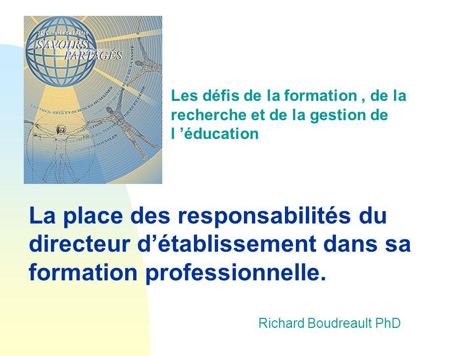 Les défis de la formation , de la recherche et de la gestion de l 'éducation