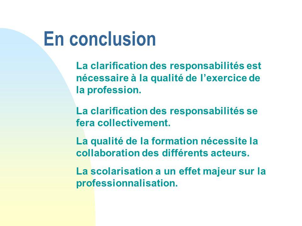 En conclusion La clarification des responsabilités est nécessaire à la qualité de l'exercice de la profession.
