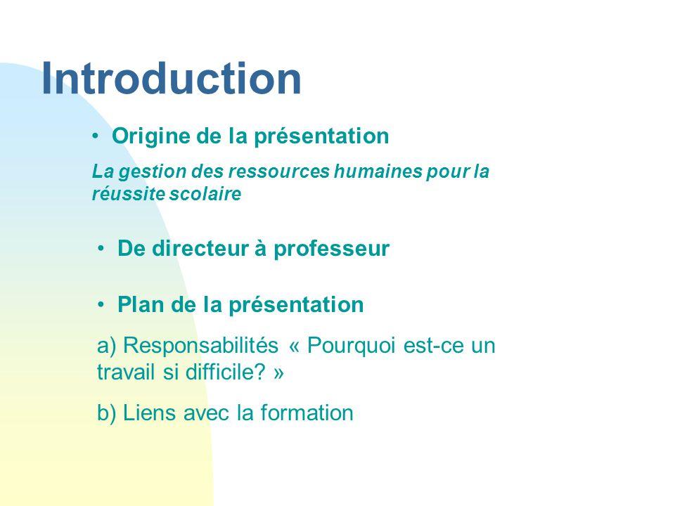 Introduction Origine de la présentation De directeur à professeur