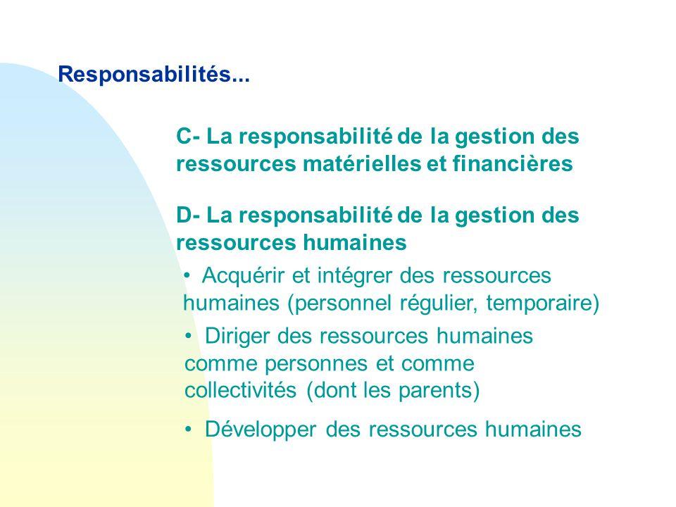 Responsabilités... C- La responsabilité de la gestion des ressources matérielles et financières.
