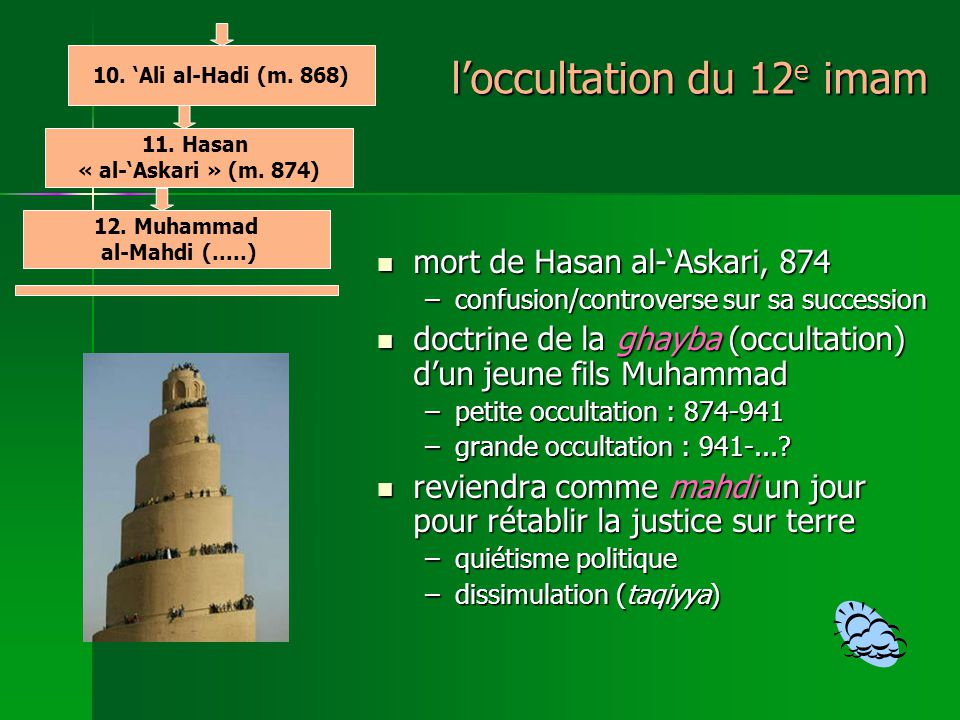 l'occultation du 12e imam