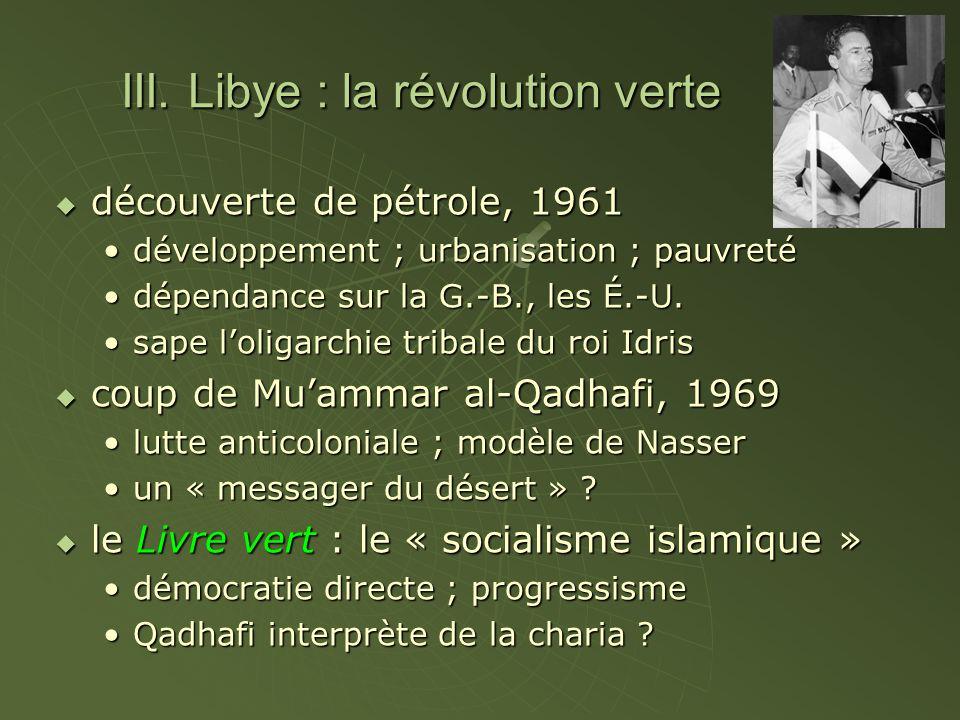 III. Libye : la révolution verte