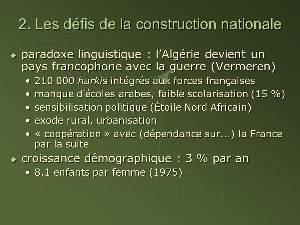 2. Les défis de la construction nationale