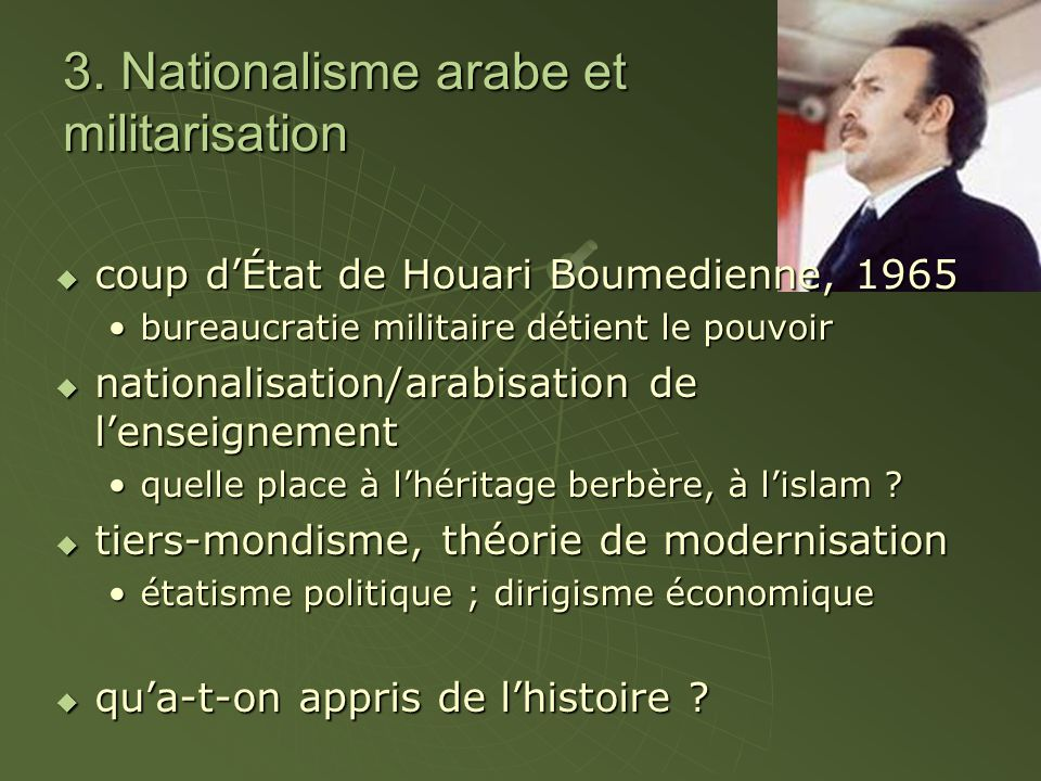 3. Nationalisme arabe et militarisation