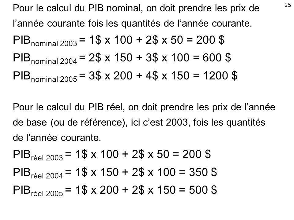 25 Pour le calcul du PIB nominal, on doit prendre les prix de. l'année courante fois les quantités de l'année courante.
