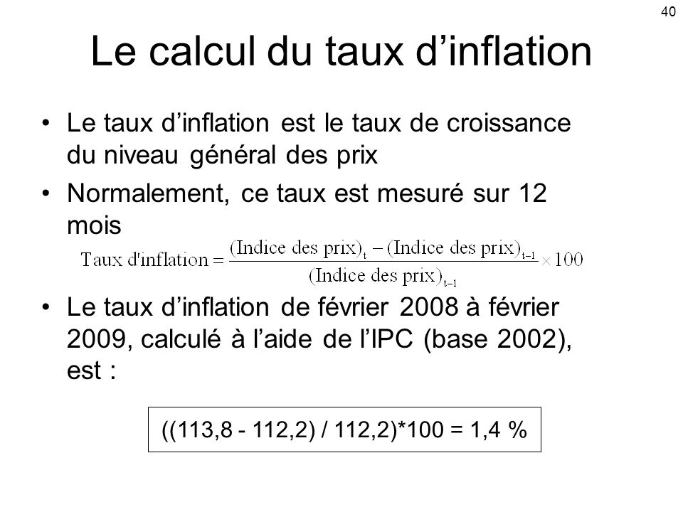 Le calcul du taux d'inflation