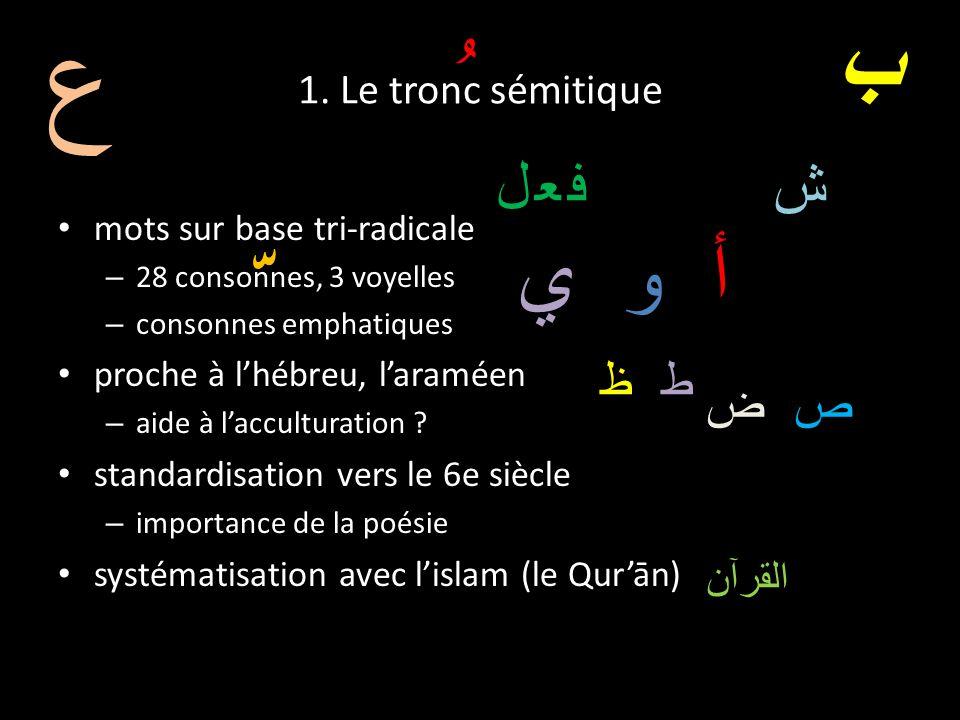 ع ّ ُ ب أ و ي فعل ش ط ظ ص ض 1. Le tronc sémitique القرآن