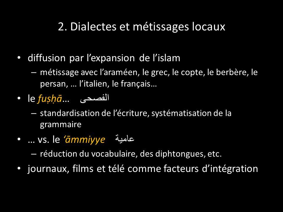 2. Dialectes et métissages locaux