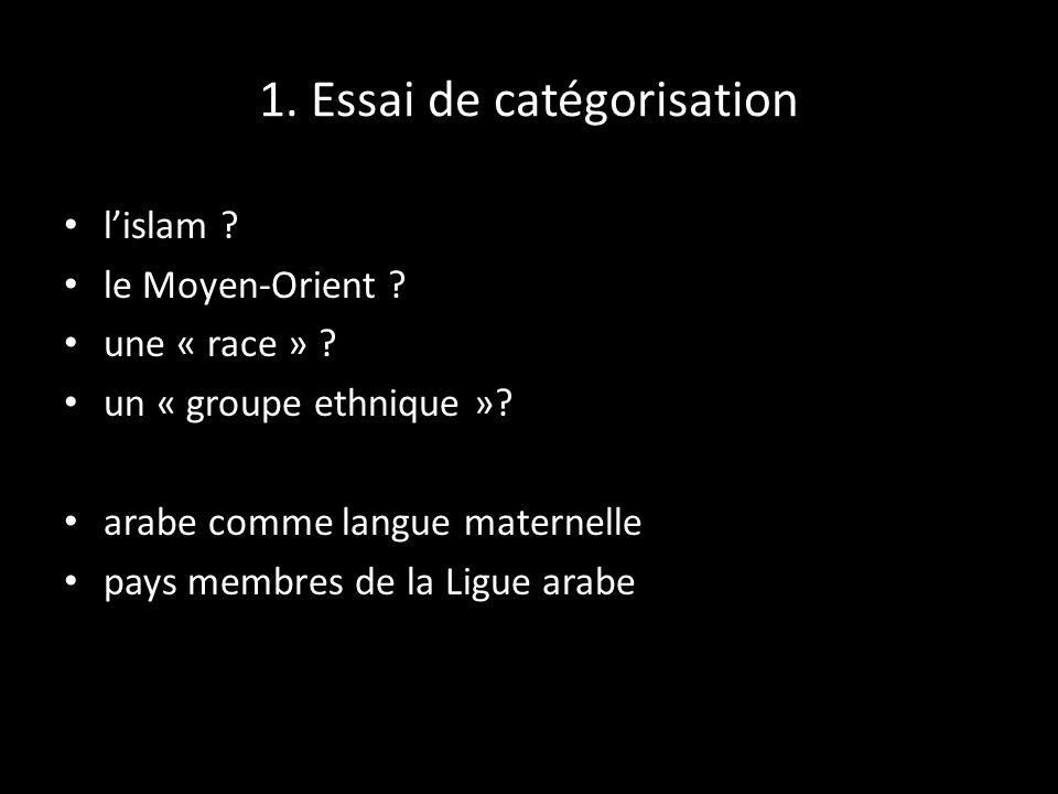 1. Essai de catégorisation