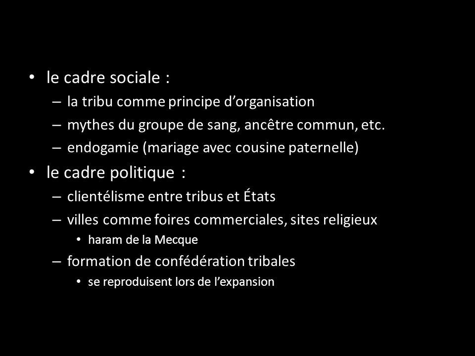 le cadre sociale : le cadre politique :