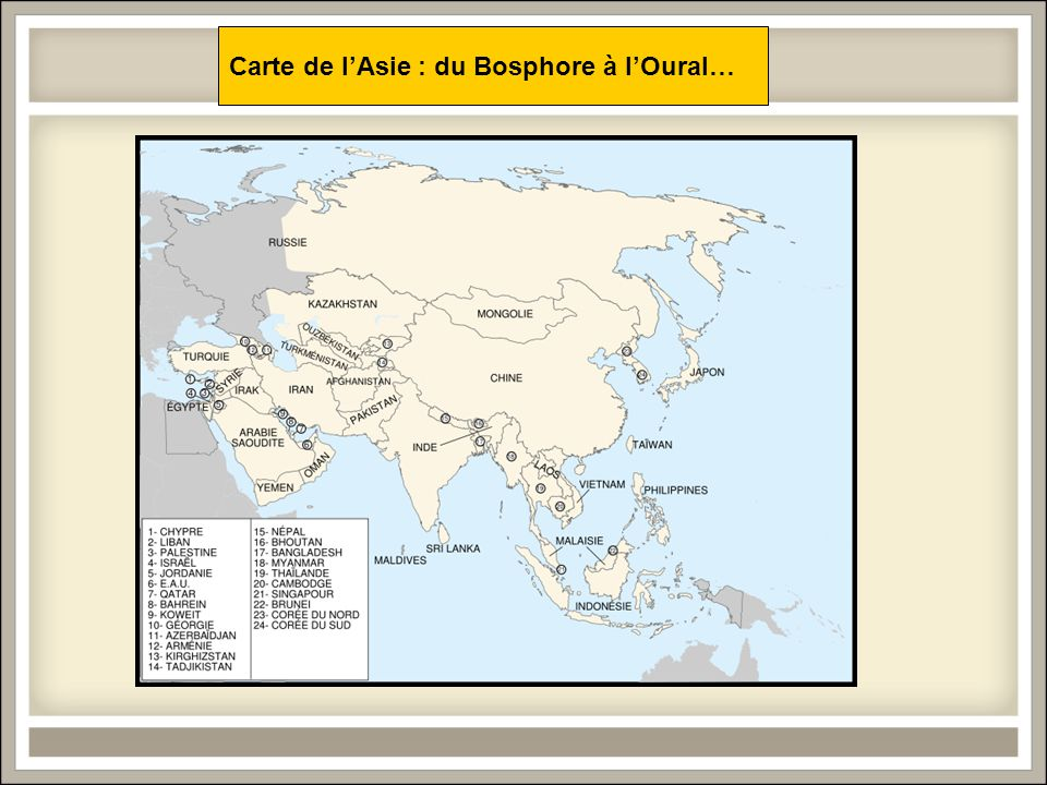 Carte de l'Asie : du Bosphore à l'Oural…