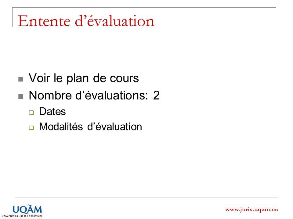 Entente d'évaluation Voir le plan de cours Nombre d'évaluations: 2