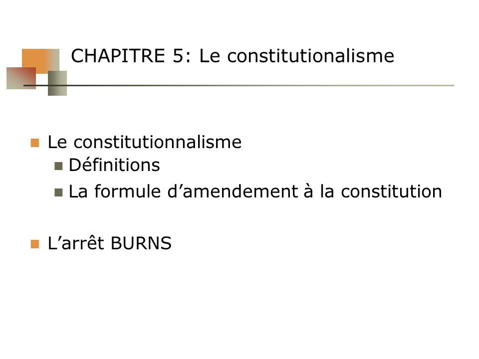 CHAPITRE 5: Le constitutionalisme