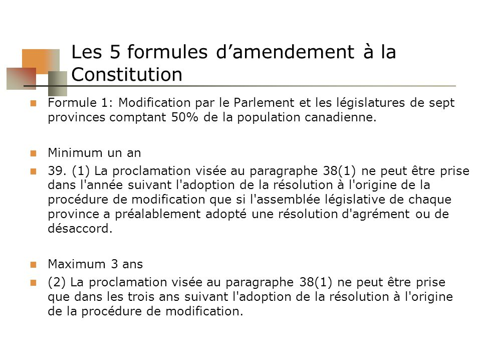 Les 5 formules d'amendement à la Constitution