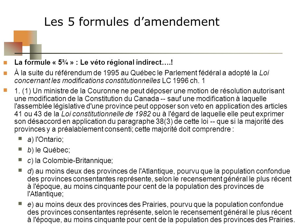 Les 5 formules d'amendement