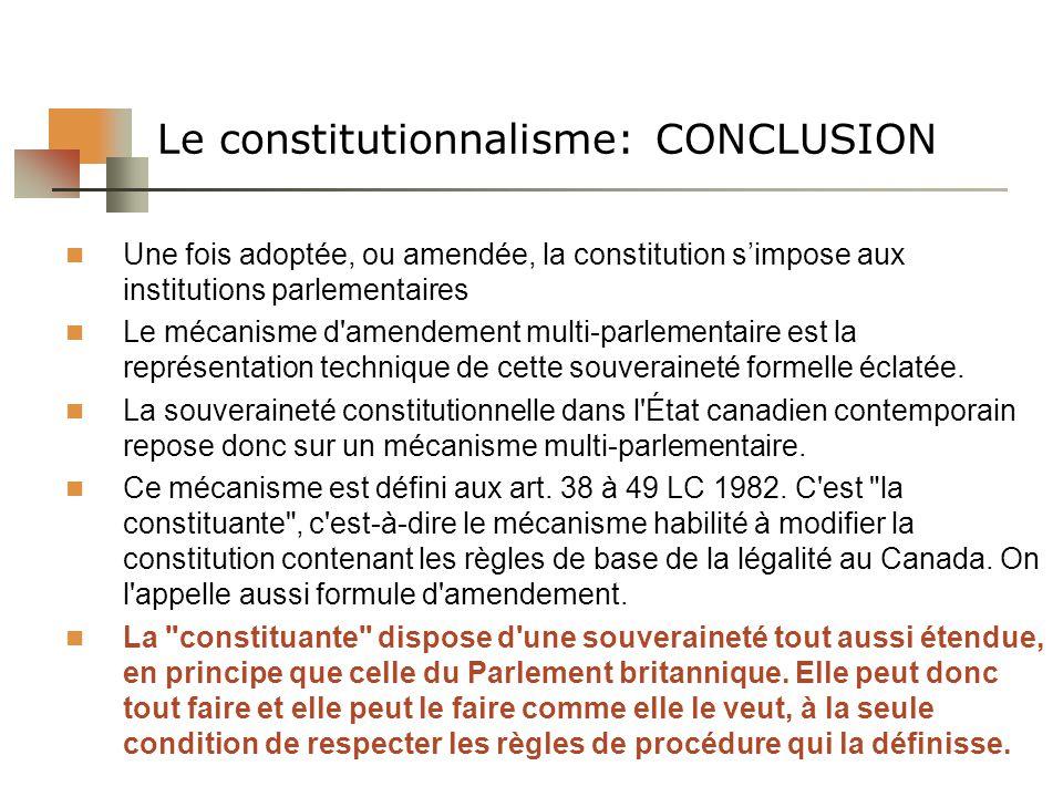 Le constitutionnalisme: CONCLUSION
