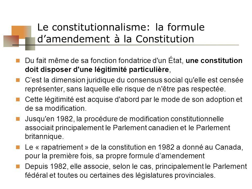 Le constitutionnalisme: la formule d'amendement à la Constitution