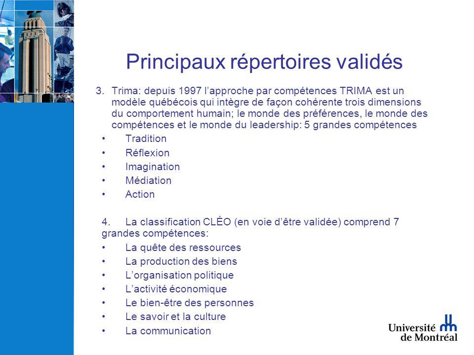 Principaux répertoires validés