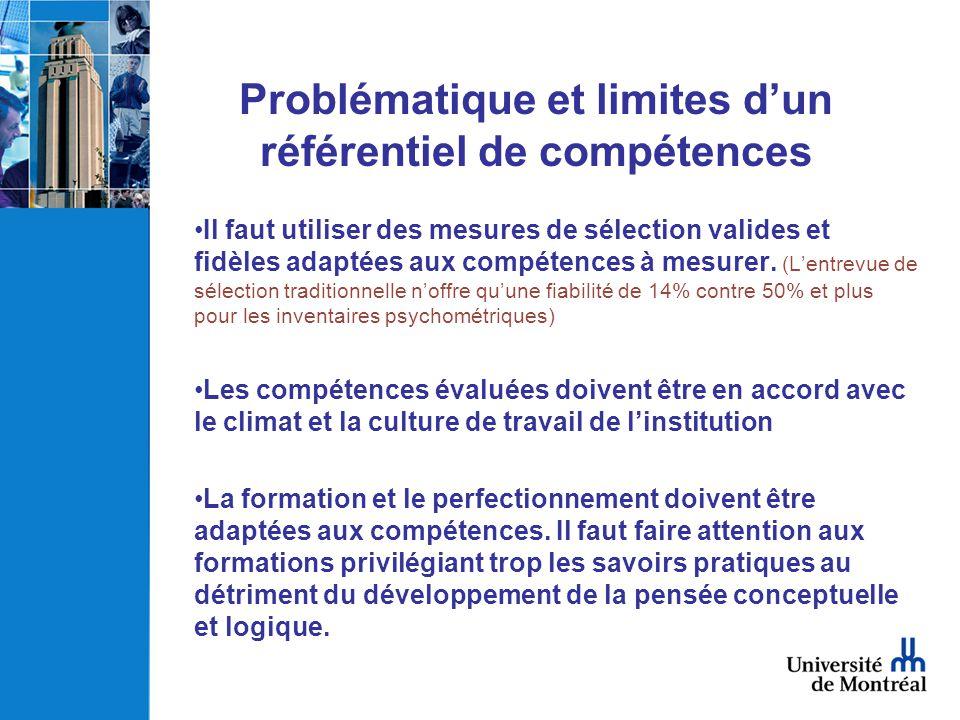 Problématique et limites d'un référentiel de compétences