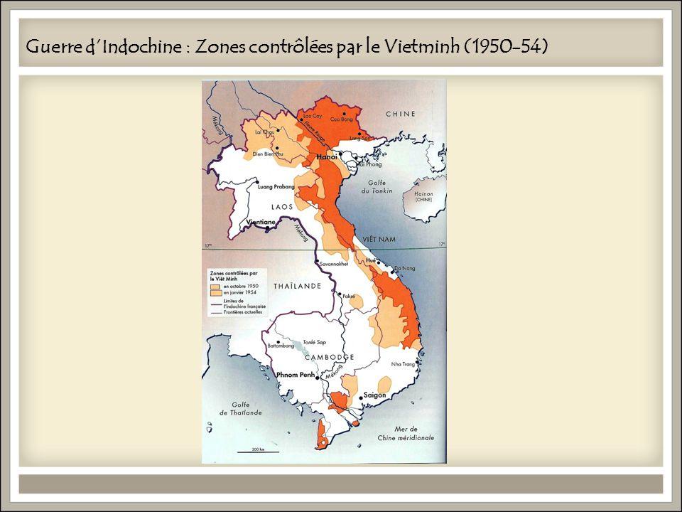 Guerre d'Indochine : Zones contrôlées par le Vietminh (1950-54)