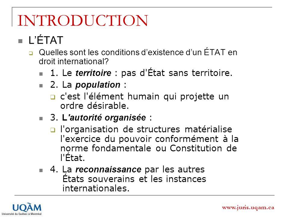 INTRODUCTION L'ÉTAT 1. Le territoire : pas d État sans territoire.