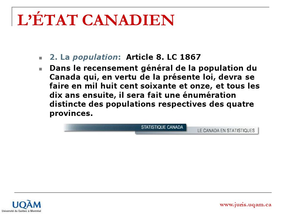 L'ÉTAT CANADIEN 2. La population: Article 8. LC 1867