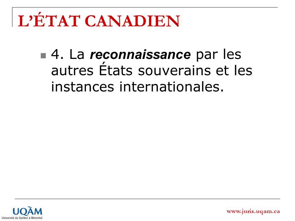 L'ÉTAT CANADIEN 4. La reconnaissance par les autres États souverains et les instances internationales.